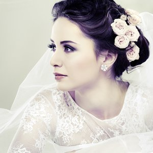 Bride with flowers in her hair.