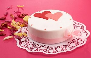 Hearts and flowers cake.