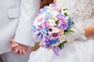 Colourful flowers and bride.