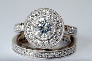 Silver wedding rings.