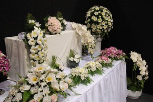 Flower decorations and wedding displays.
