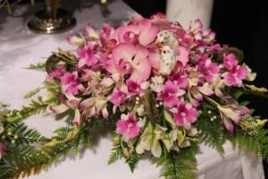 Pink floral display.