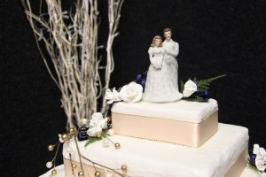 Bride and groom wedding cake topper.