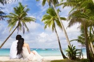 Tropical island wedding.
