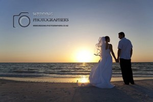 Wedding couple on the beach.