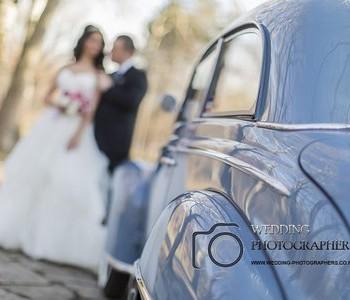 Bridal car and wedding couple.