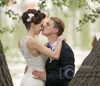 Romance in the park after the wedding.