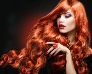 Stunning long red hair.