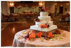 Grand cake at wedding reception.