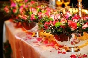 Floral display for wedding reception.