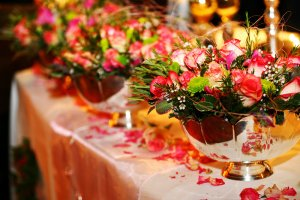 Floral display for wedding reception.