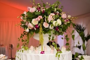 Wedding venue floral display.