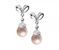 Silver pearl earrings.