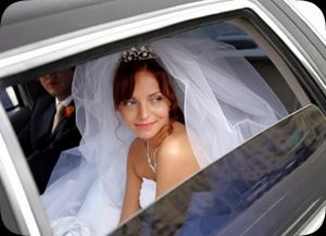 Bride arriving in the wedding car.