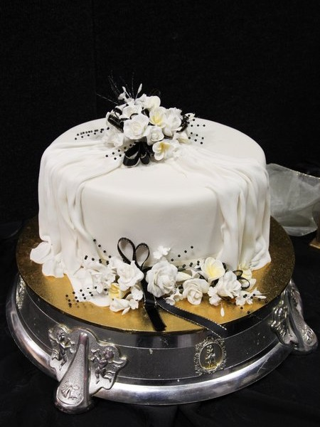 White wedding cake.