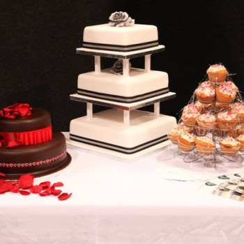 Wedding cake display.