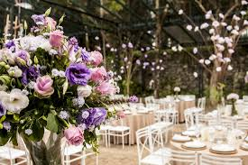 Wedding reception venue decoration.