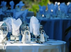 Wedding reception table layout.