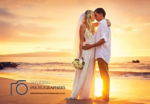 Sunset wedding photo.
