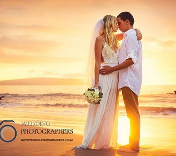 Sunset wedding photo.