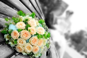 Orange roses in a bouquet laid on a park bench, with the bride and groom in the background.