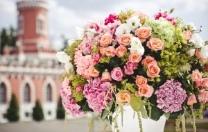 Large flower displays at the wedding ceremony.